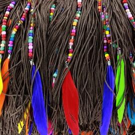 Perles & Plumes fringe - brown x 50cm