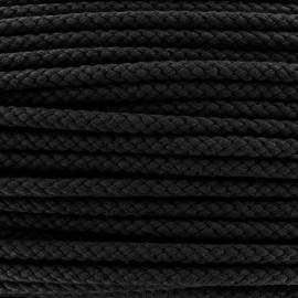 Braided cord 7mm - black x 1m