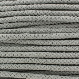 Braided cord 7mm - light grey x 1m