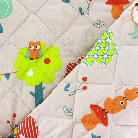 Quilted cotton fabric Kukoti - linen x 10cm