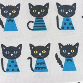 Tissu toile de coton lin Chat - gris x 10 cm