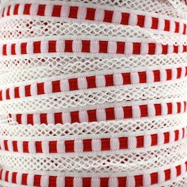 Scalloped lingerie elastic 15 mm - red x 1m