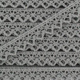 Ruban Dentelle au fuseau 10mm - gris clair x 50cm