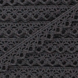 Ruban Dentelle au fuseau 10mm - gris anthracite x 50cm