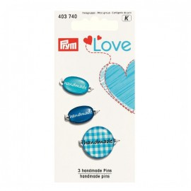 3 Handmade pins Love Prym - blue