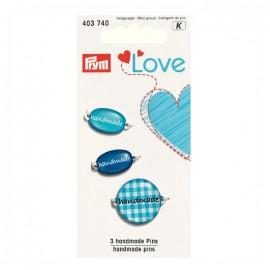 3 breloques Handmade Love Prym - bleu
