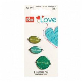 3 Handmade pins Love Prym - green
