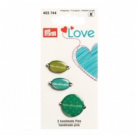 3 breloques Handmade Love Prym - vert