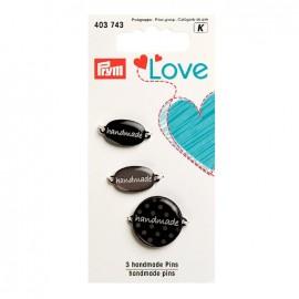 3 Handmade pins Love Prym - grey