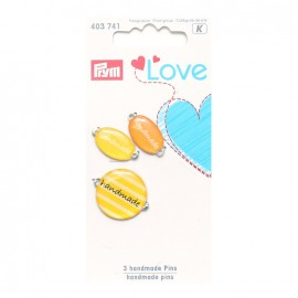 3 Handmade pins Love Prym - yellow