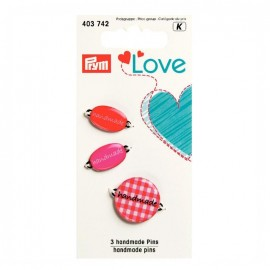 3 Handmade pins Love Prym - red