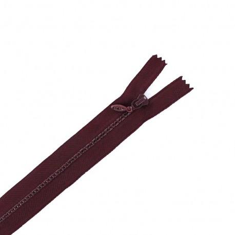 Non separable Strass zipper - wine red