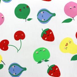 Tissu coton Sweet Fruits - blanc x 10cm