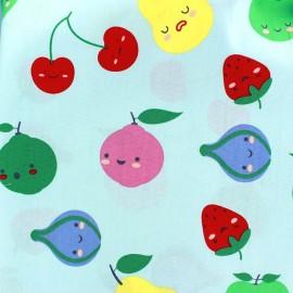 Tissu coton Sweet Fruits - bleu ciel x 10cm