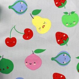 Tissu coton Sweet Fruits - gris clair x 10cm