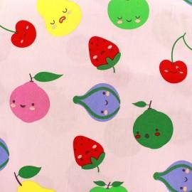 Tissu coton Sweet Fruits - rose clair x 10cm