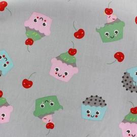 Tissu coton Sweet Cakes - gris clair x 10cm