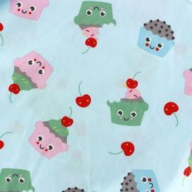 Tissu coton Sweet Cakes - bleu ciel x 10cm