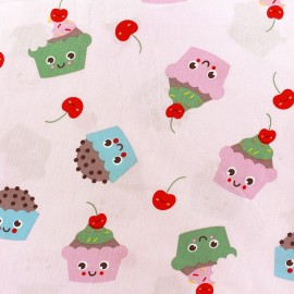 Tissu coton Sweet Cakes - rose clair x 10cm