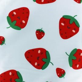 Tissu coton Sweet Strawberries - bleu ciel x 10cm