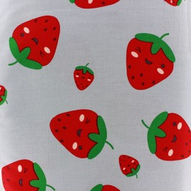Tissu coton Sweet Strawberries - gris clair x 10cm