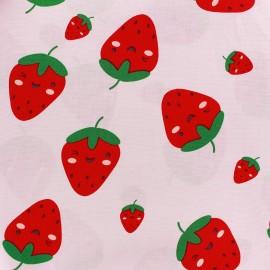 Tissu coton Sweet Strawberries - rose clair x 10cm
