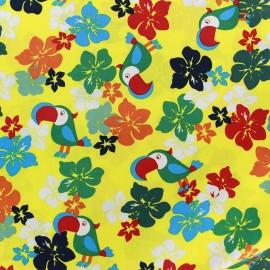 Tissu coton Tropical - jaune x 10cm