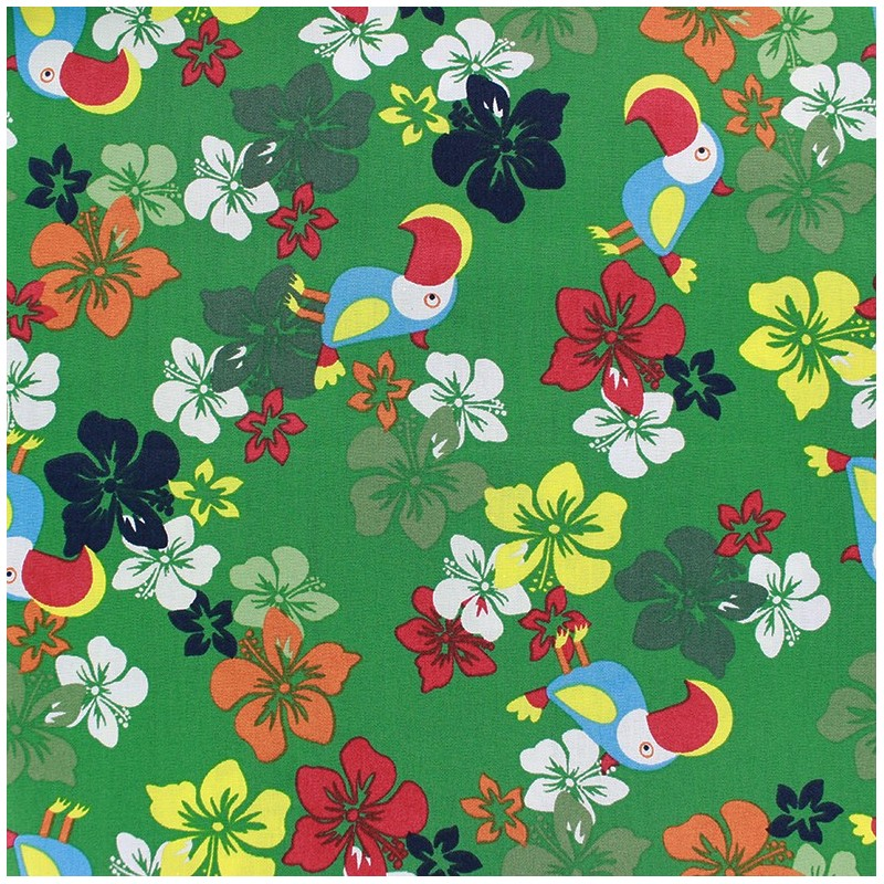 tissus pas cher 100 coton tissu coton tropical vert. Black Bedroom Furniture Sets. Home Design Ideas