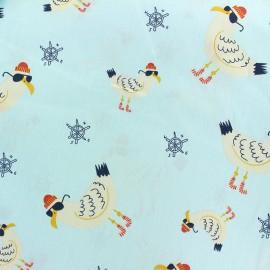 Tissu coton Cool seagull - bleu ciel x 10cm