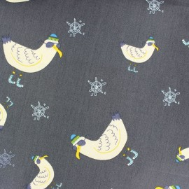 Tissu coton Cool seagull - gris x 10cm