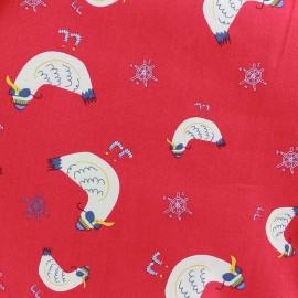 Tissu coton Cool seagull - rouge x 10cm