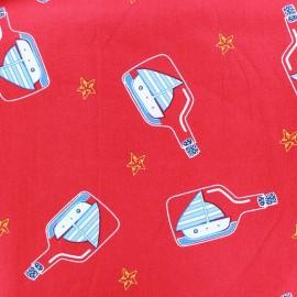 Tissu coton Une bouteille à la mer - rouge x 10cm