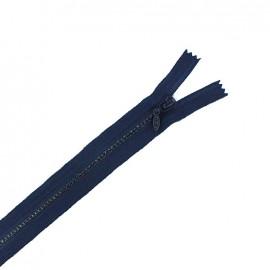 Fermeture Eclair fantaisie non séparable strass - bleu minéral