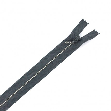Non separable Strass zipper - slate grey