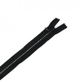 Fermeture à glissière fantaisie non séparable strass - noir ébène