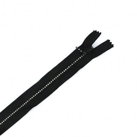 Non separable Strass zipper - black