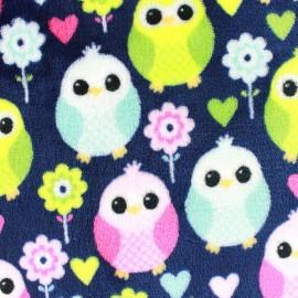 Tissu Doudou Sweet Owl - marine x 10cm