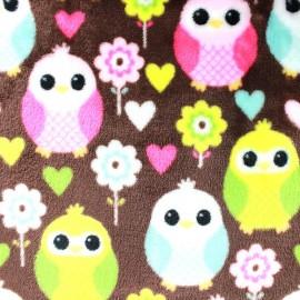 Tissu Doudou Sweet Owl - marron x 10cm