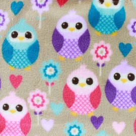 Tissu Doudou Sweet Owl - beige x 10cm