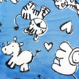 Tissu Doudou Sweet Zoo - bleu x 10cm