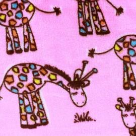 Tissu Doudou Madame Girafe - rose x 10cm
