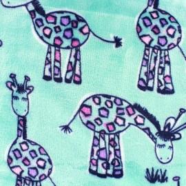 Tissu Doudou Madame Girafe - bleu givré x 10cm