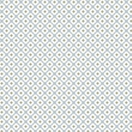 Percale cotton Fabric Tormentille - frozen blue x 10 cm