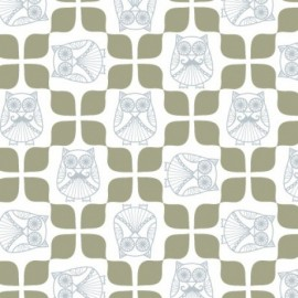 Percale cotton Fabric  Mr Hibou en Scandinavie - x 10 cm