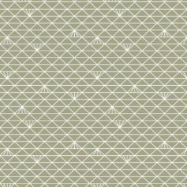 Tissu coton enduit Triangle - lichen glacé x 10 cm