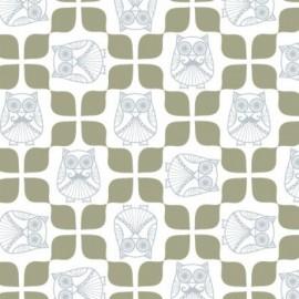 Tissu coton enduit Mr Hibou en scandinavie x 10 cm