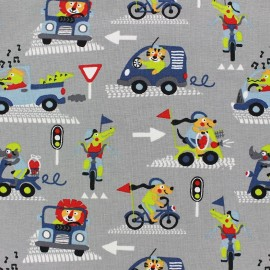 ♥ Coupon tissu 55 cm X 140 cm ♥ Jersey Fabric Animals in the city - grey