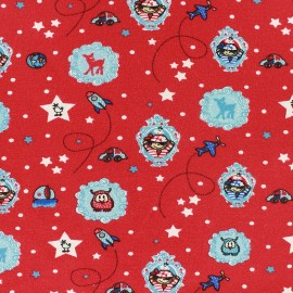 Jersey Fabric Around the world - red x 10cm
