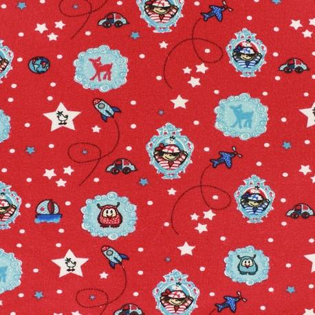 Tissu jersey Around the world - rouge x 10cm