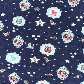 Tissu jersey Around the world - marine x 10cm